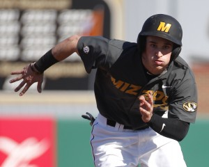 Tim Nwachukwu/Missourian Outfielder Jake Ring(cq) sprints to third base during the third inning against the Wisconsin-Milwaukee Panthers at Taylor Stadium on Saturday, March 7, 2015. The Tigers lost 5-1.