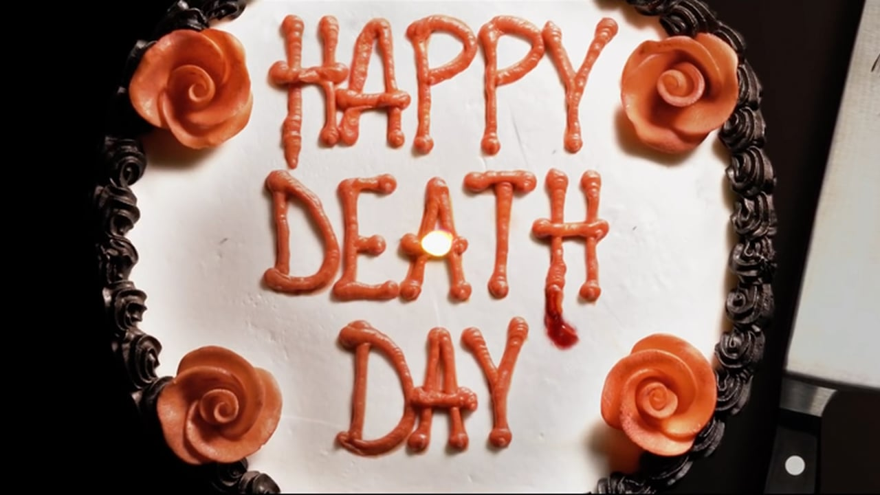 "The ""Happy Death Day"" logo is the title frosted on a white and red birthday cake."
