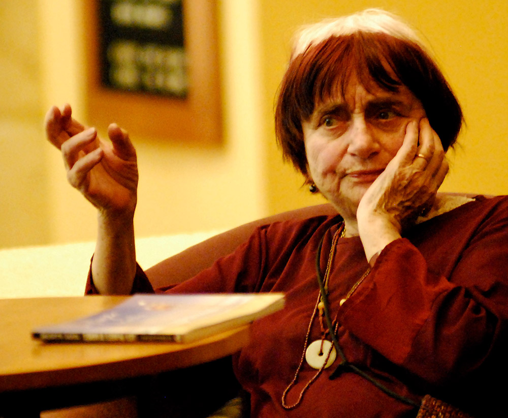 Agnes Varda sits in an interview.