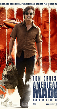 "Tom Cruise adorns the ""American Made"" poster."