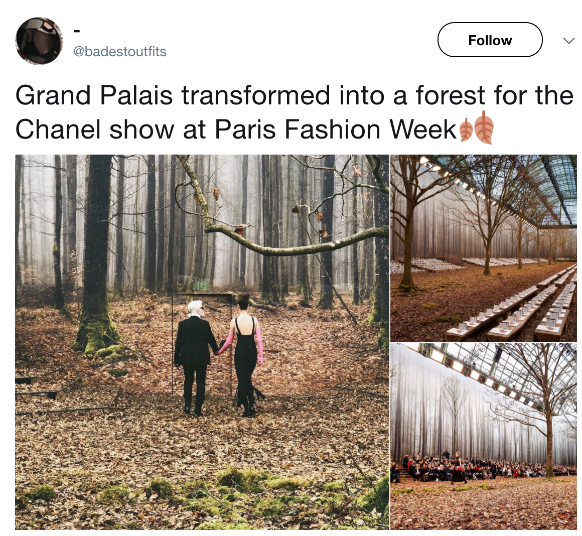 A tweet showing the Grand Palais transformed into a forest