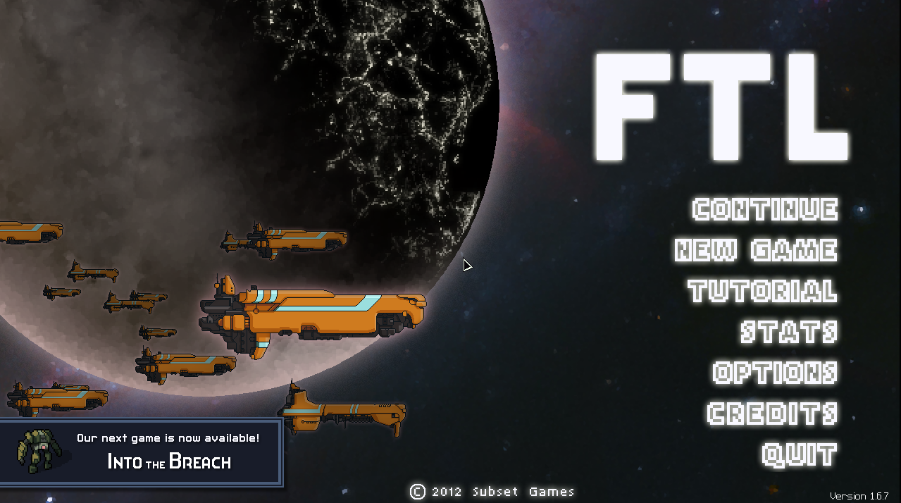 "The title screen of ""FTL"" shows a few ships above a dark planet and menu options."