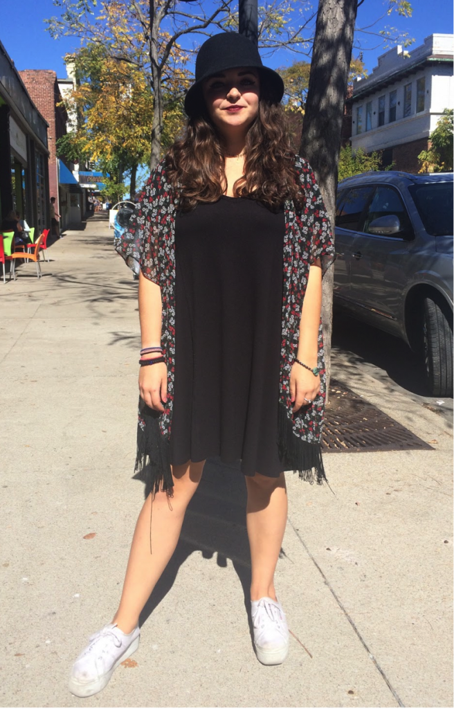 """For Sophia Conforti, a J-School student, her go-to style is """"what I feel comfortable in."""" Her look is very flowy, and it matches her hair. She gives off the go-with-the-flow vibes."""