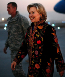 Hillary's coat is lit.