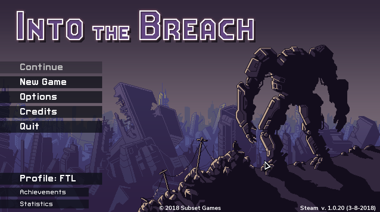 "The title screen of ""Into the Breach"" shows menu options and a robot overlooking an urban wasteland."