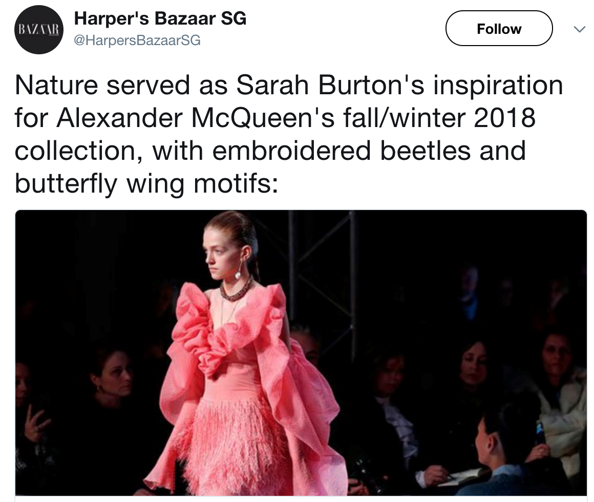 A tweet showing a model in a pink dress at McQueen's show