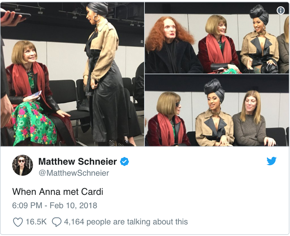 "A tweet featuring photos of Cardi B sitting next to Anna Wintour. The tweet's caption reads ""When Anna met Cardi."""