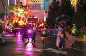 Performers in the parades often wear colorful costumes.
