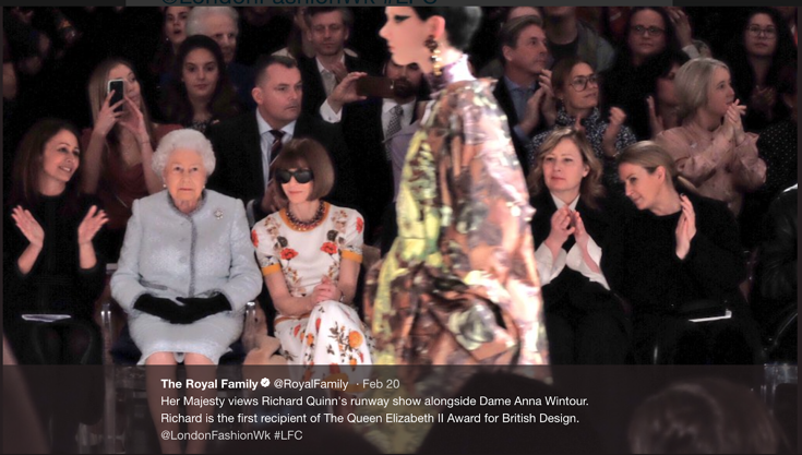 A tweet from the Royal Family showing Queen Elizabeth II sitting next to Anna Wintour at London Fashion Week
