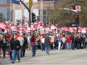 Members of the Writers Guild of America went on strike in 2007.