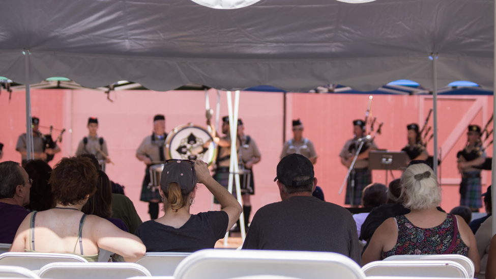 Kansas City Celtic Pipe and Drum Corps on stage