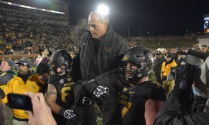 Nov 21, 2015; Columbia, MO, USA; Missouri Tigers head coach Gary Pinkel is carried off the field by Missouri Tigers offensive lineman Evan Boehm (77) and offensive lineman Connor McGovern (60) after the game against the Tennessee Volunteers at Faurot Field. Tennessee won the game 19-8. Mandatory Credit: Denny Medley-USA TODAY Sports ORG XMIT: USATSI-227482 ORIG FILE ID:  20151121_gma_sm8_290.jpg
